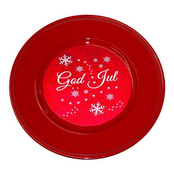 Bricka Röd God Jul