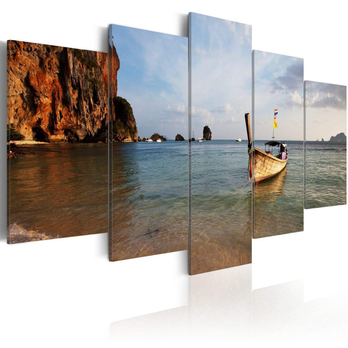 Canvas Tavla - A fishing boat by the sea - 100x50