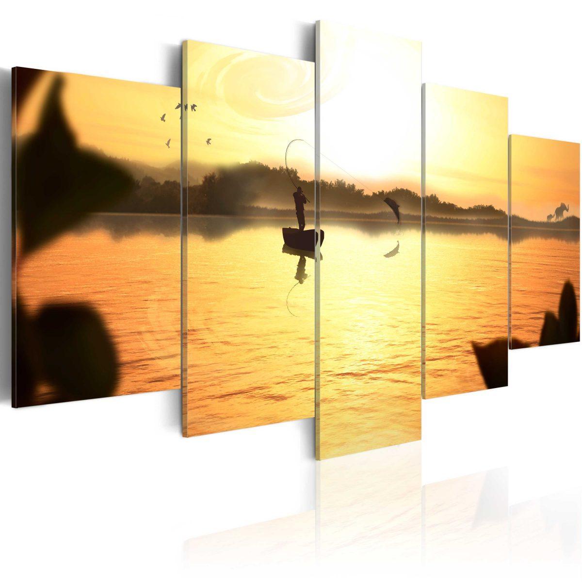 Canvas Tavla - A lake at dusk - 200x100