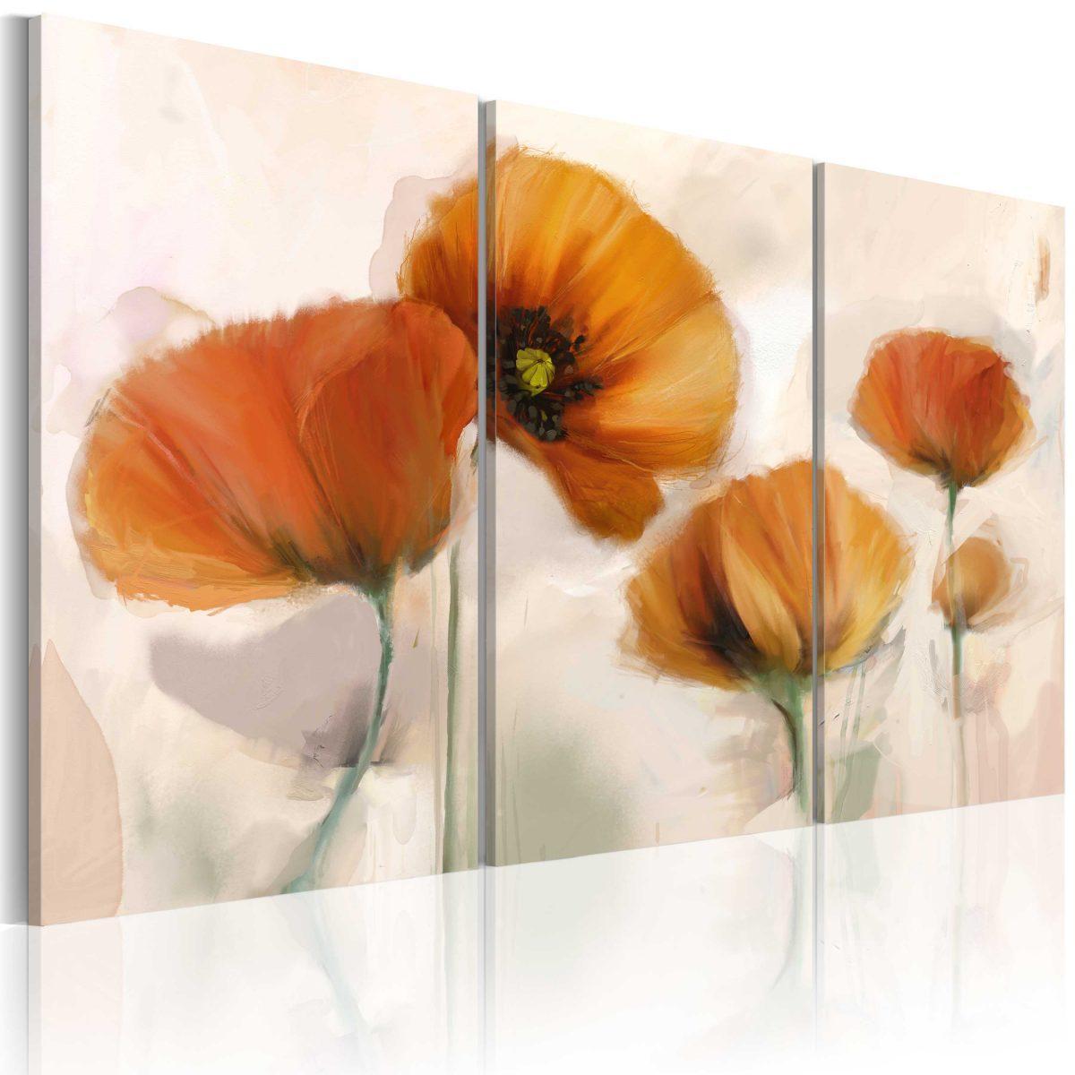 Canvas Tavla - Artistic poppies - triptych - 90x60