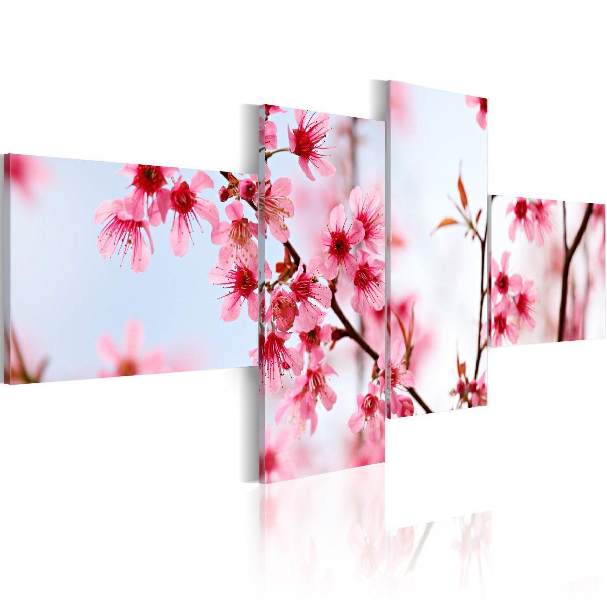 Canvas Tavla - Beauty of the cherry flowers - 100x45