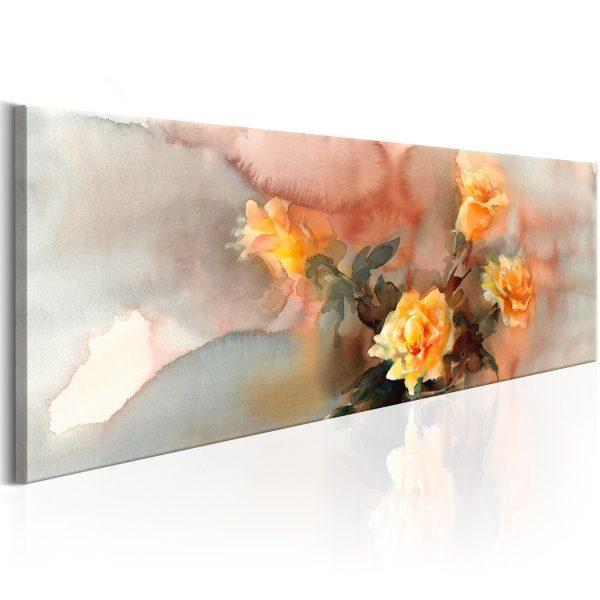 Canvas Tavla - Bouquet of Yellow Roses - 135x45