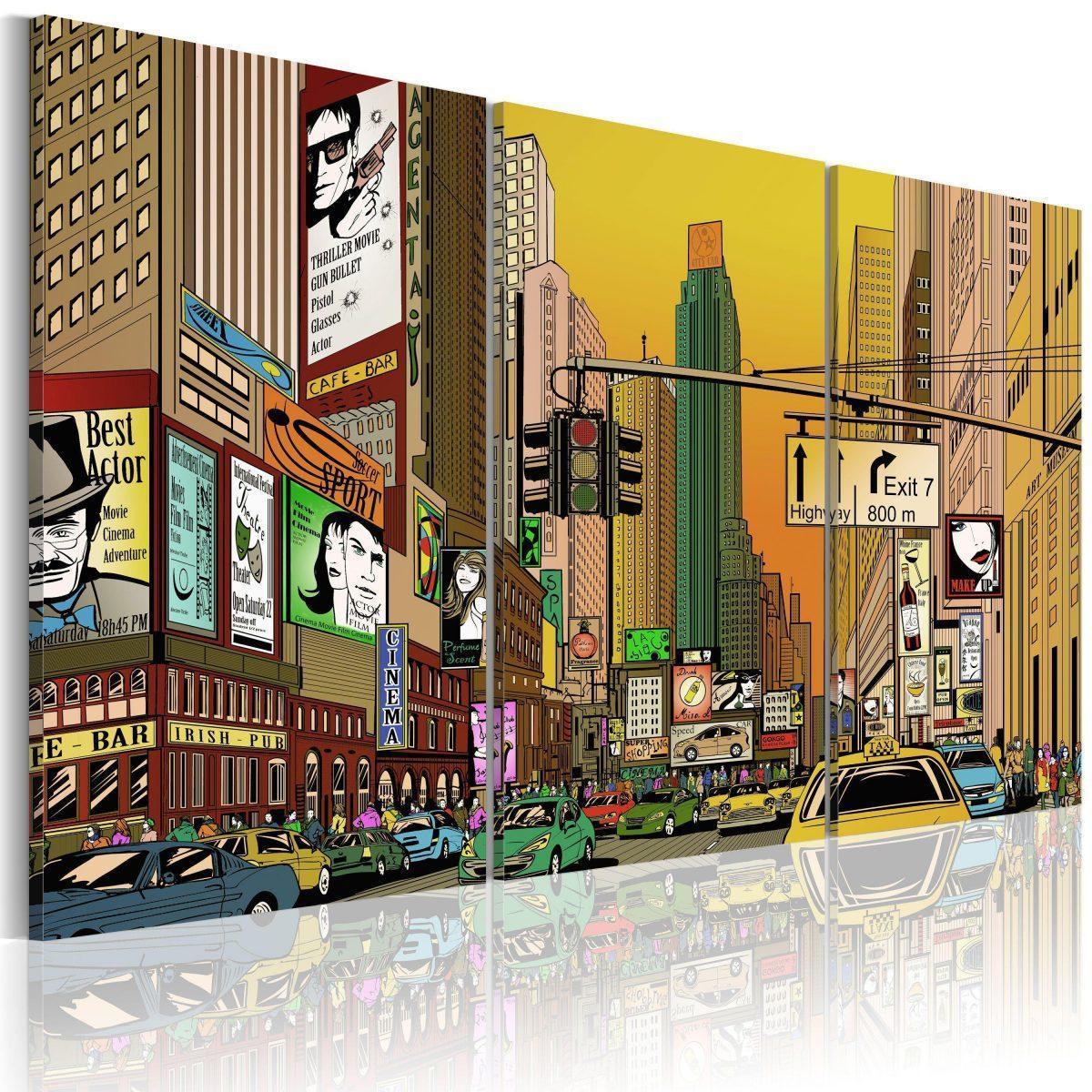 Canvas Tavla - Cartoon NYC - 90x60