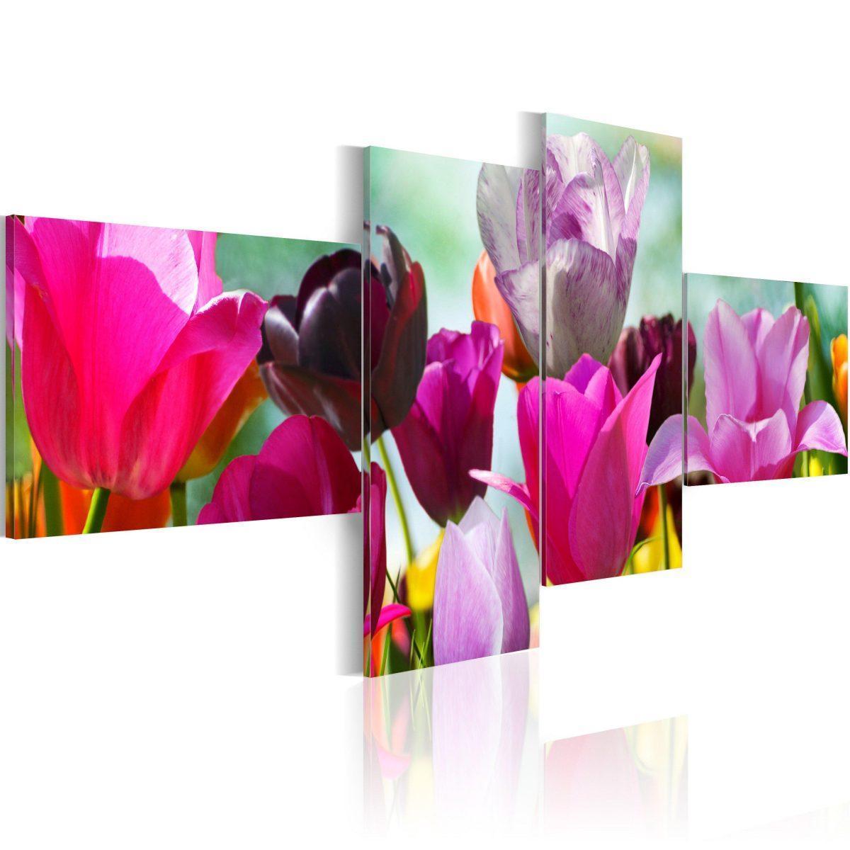 Canvas Tavla - Charming red tulips - 200x90