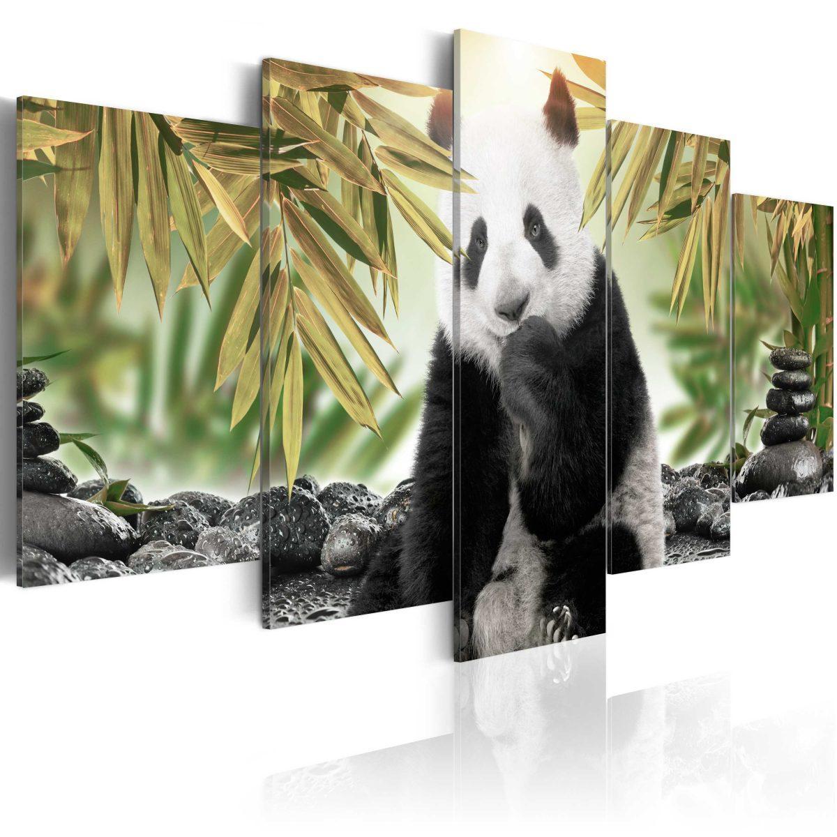 Canvas Tavla - Cute Panda Bear - 100x50