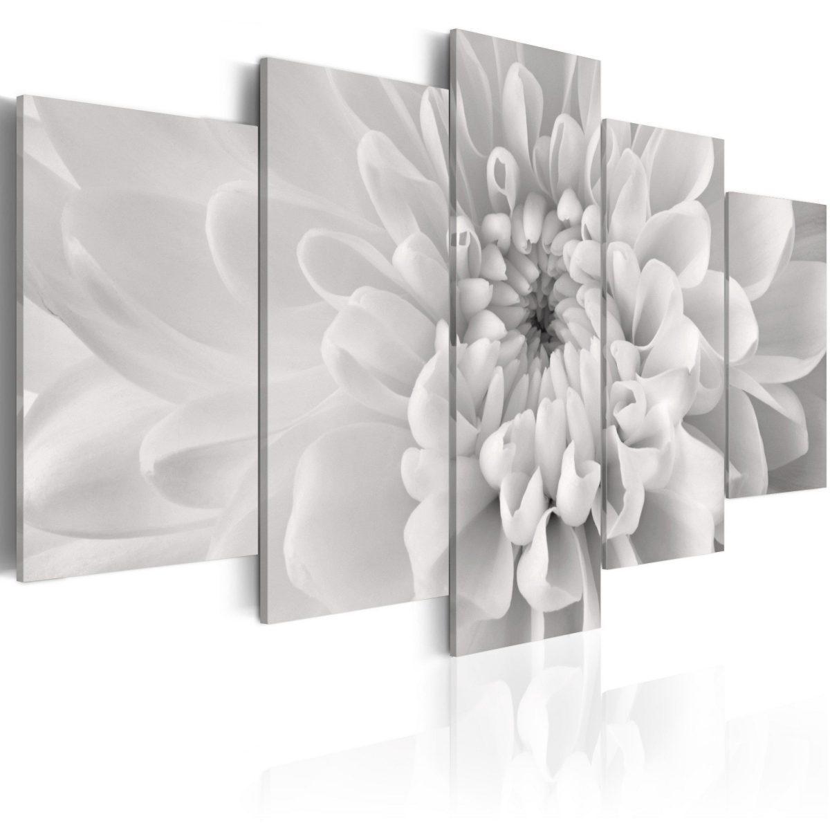 Canvas Tavla - Dahlia flower in grey shades - 200x100