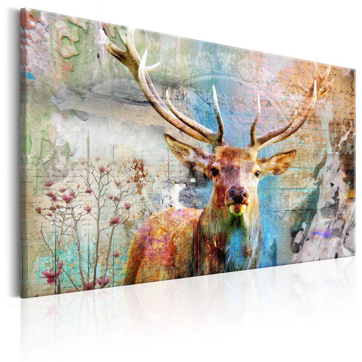 Canvas Tavla - Deer on Wood - 120x80