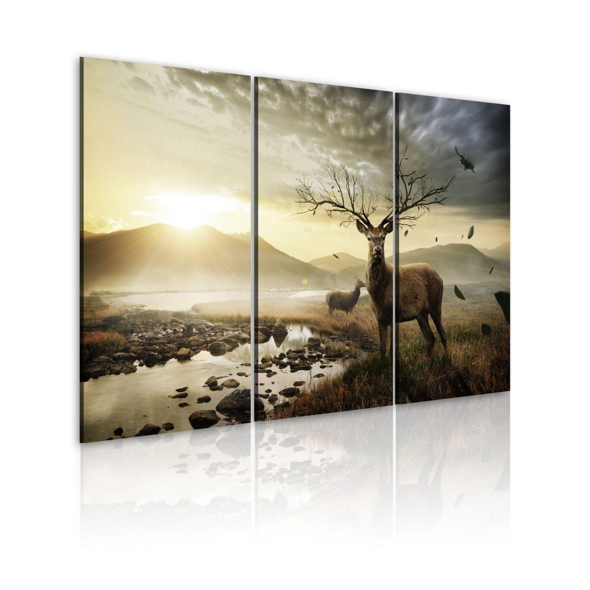 Canvas Tavla - Deer with a tree-like antlers - 120x80