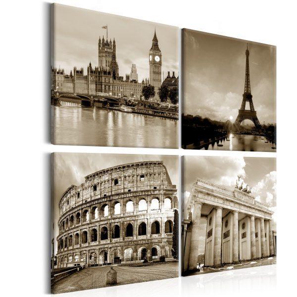 Canvas Tavla - European Capitals - 40x40