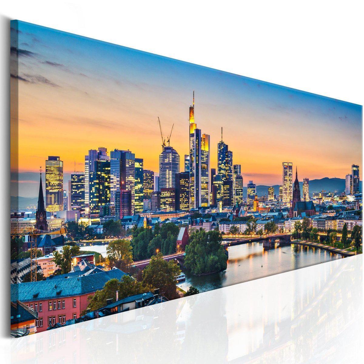 Canvas Tavla - Evening in Frankfurt - 150x50