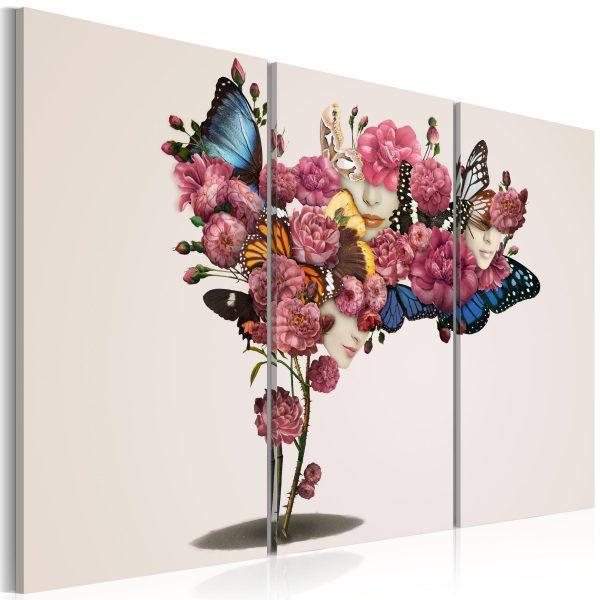 Canvas Tavla - Fjärilar, blommor och karneval - 90x60