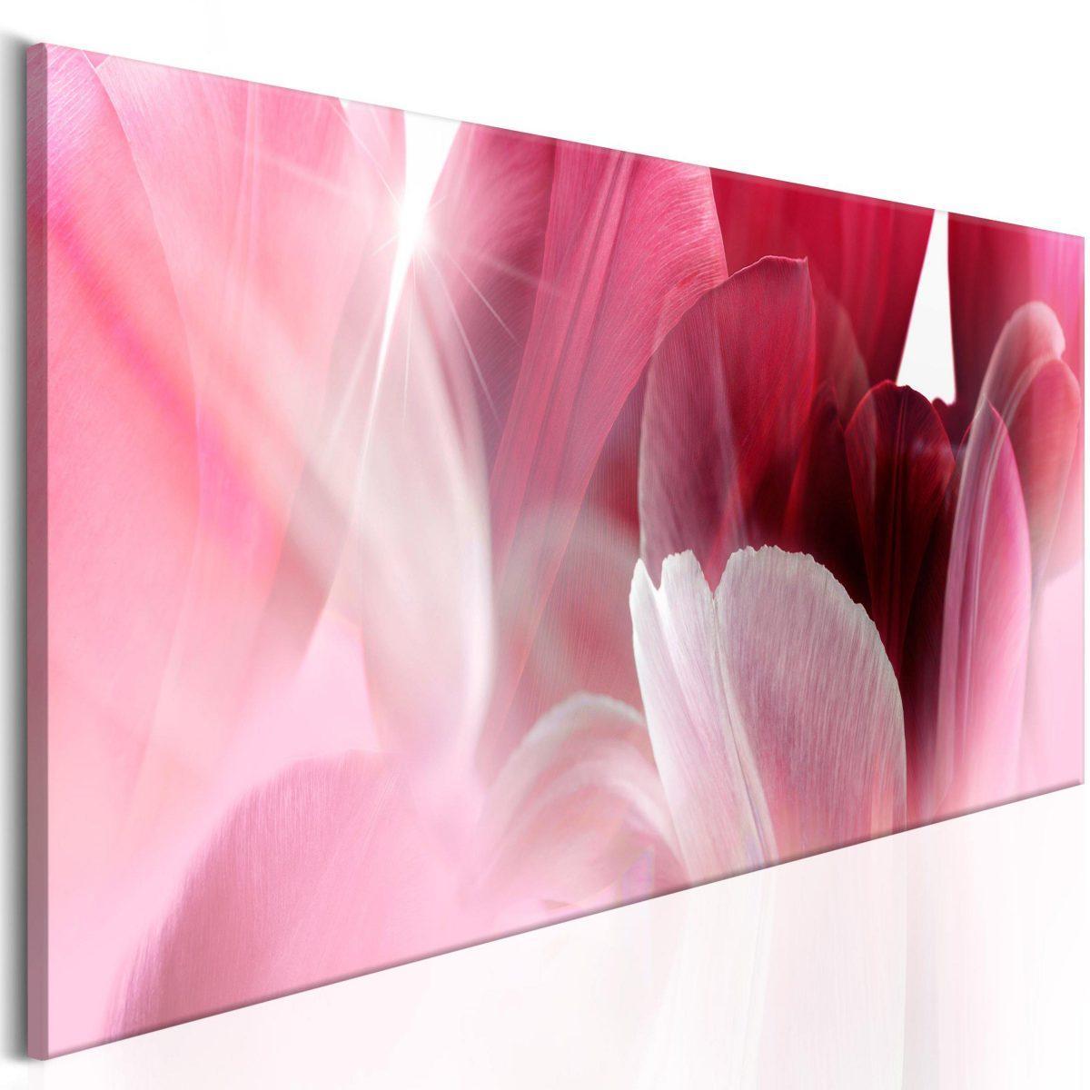 Canvas Tavla - Flowers: Pink Tulips - 135x45