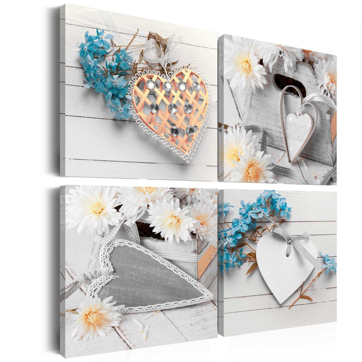 Canvas Tavla - Flowers and hearts - 60x60