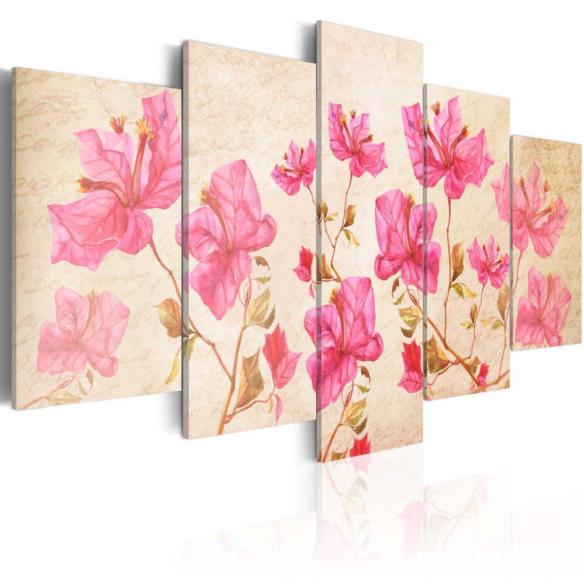 Canvas Tavla - Flowers in Pink - 100x50