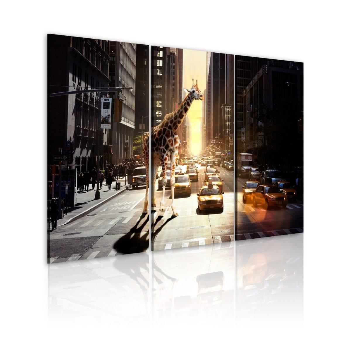 Canvas Tavla - Giraff i den stora staden - 60x40