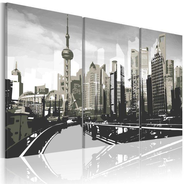 Canvas Tavla - Grey Shanghai - 60x40