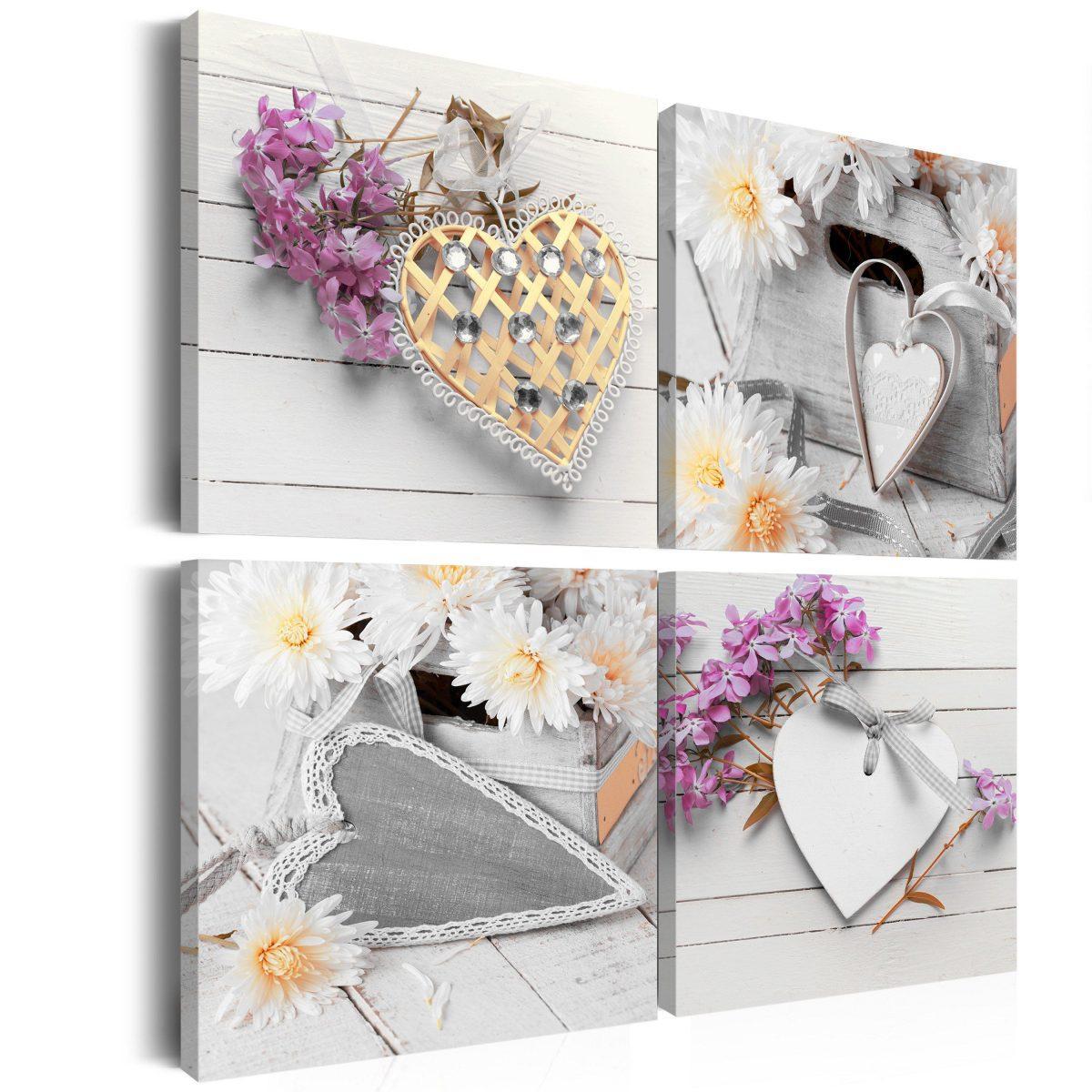 Canvas Tavla - Hearts and flowers - 60x60