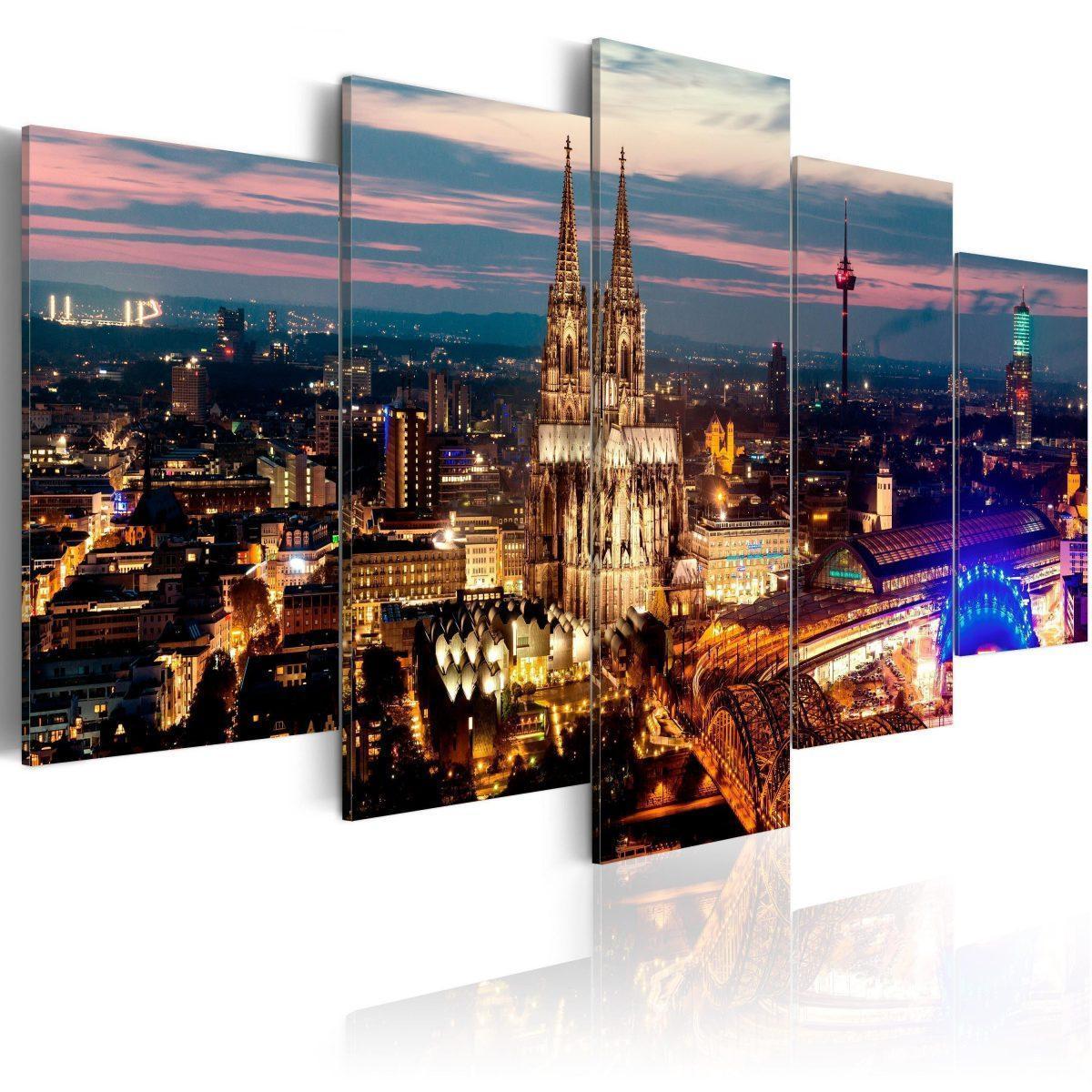 Canvas Tavla - Koeln: Night Panorama - 100x50