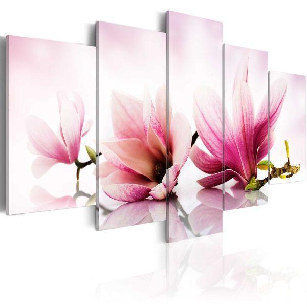 Canvas Tavla - Magnolias: pink flowers - 200x100