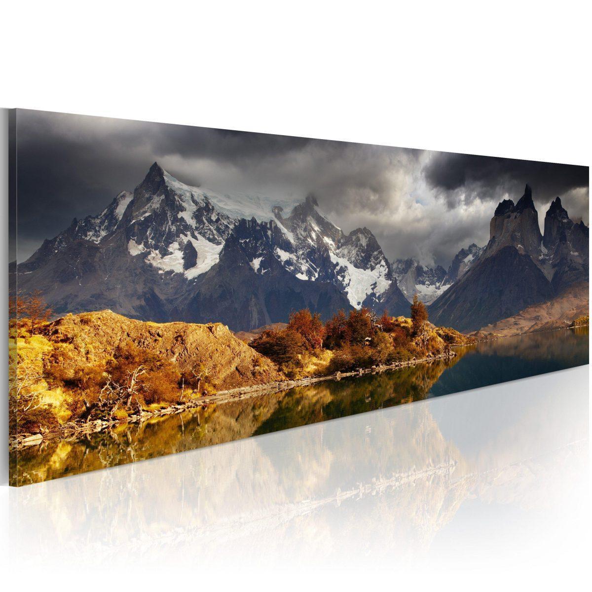 Canvas Tavla - Mountain landscape before a storm - 120x40