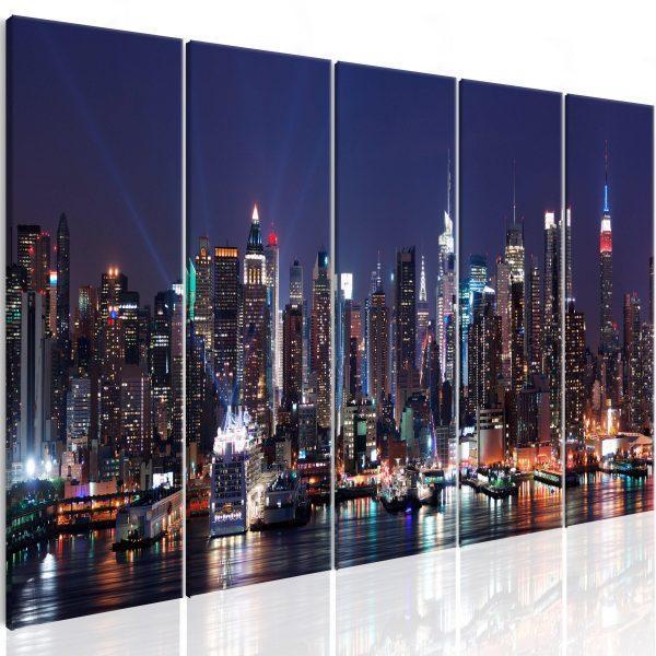 Canvas Tavla - New York: Live by Night - 200x80