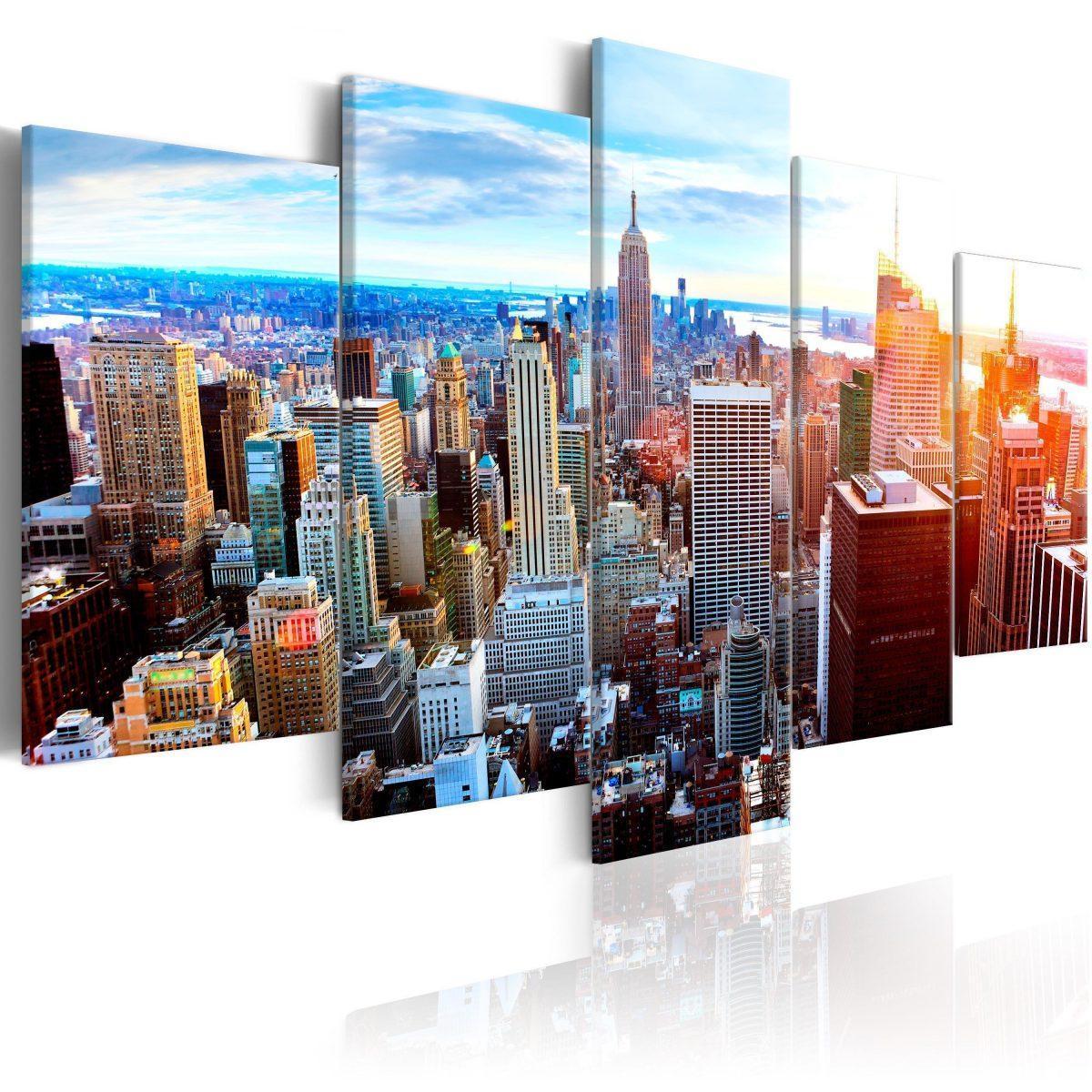 Canvas Tavla - New York Sunrise - 100x50