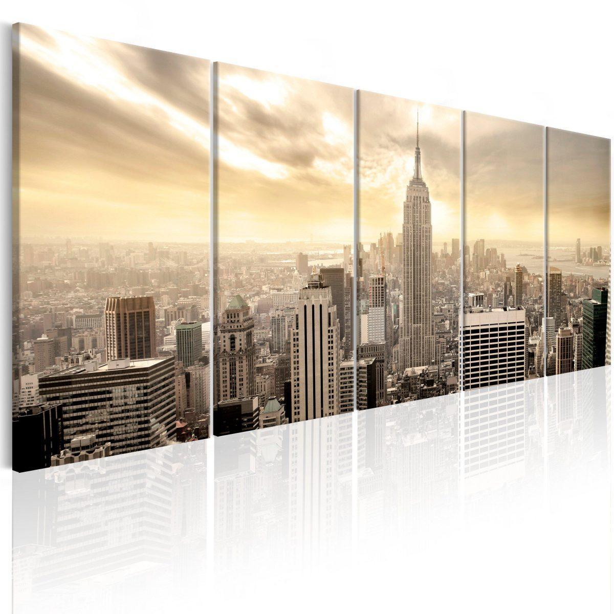 Canvas Tavla - New York: View on Manhattan - 225x90