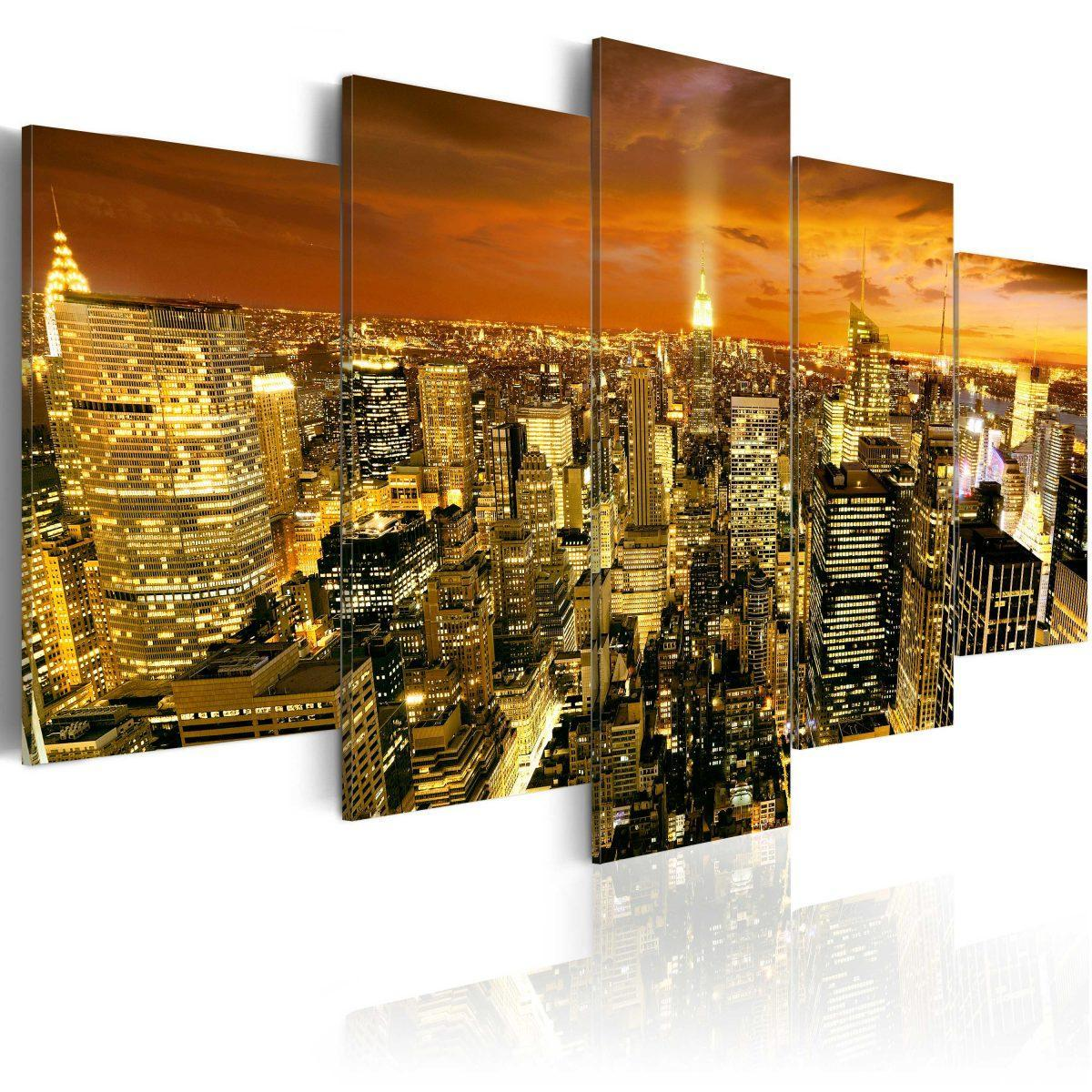 Canvas Tavla - New York: amber - 100x50