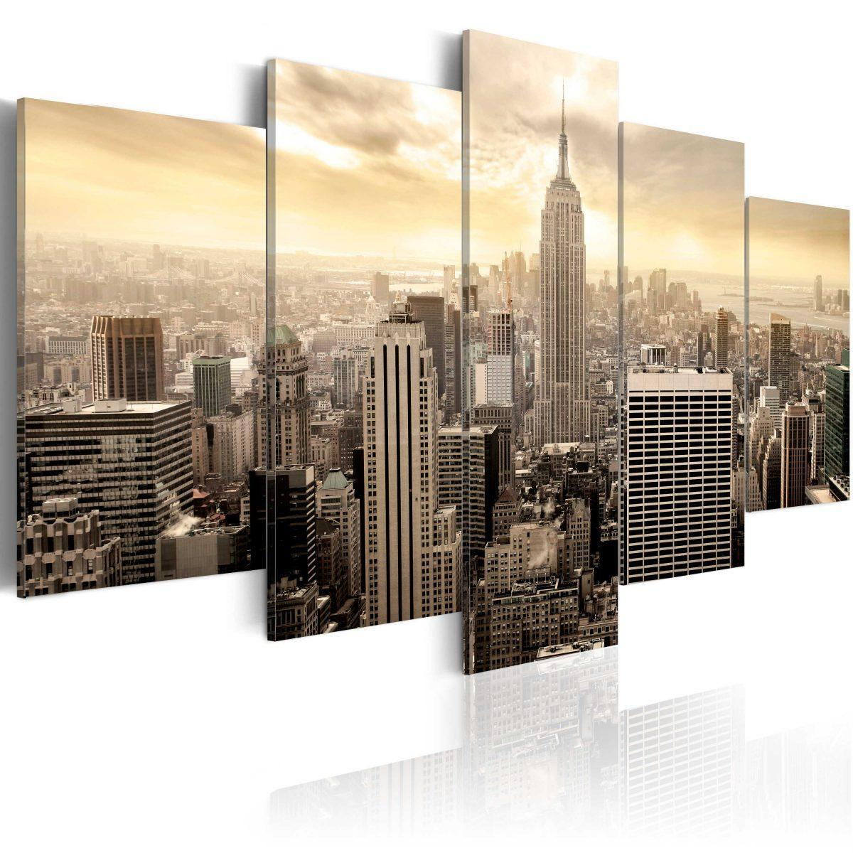 Canvas Tavla - New York and sunrise - 200x100