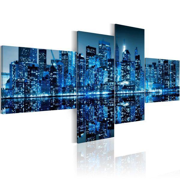 Canvas Tavla - New York's skyscrapers in blue colour - 200x90