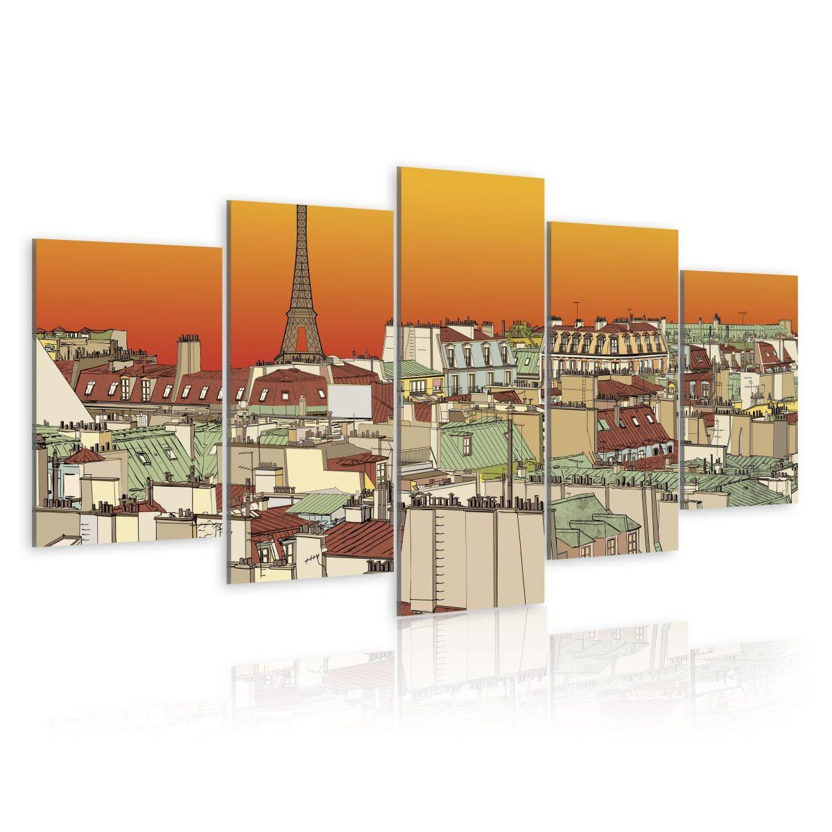 Canvas Tavla - Parisian sky in orange colour - 200x100