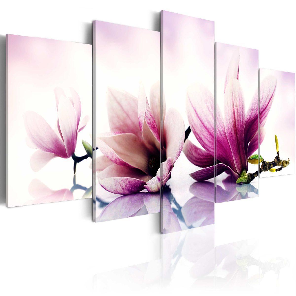 Canvas Tavla - Pink flowers: magnolias - 100x50