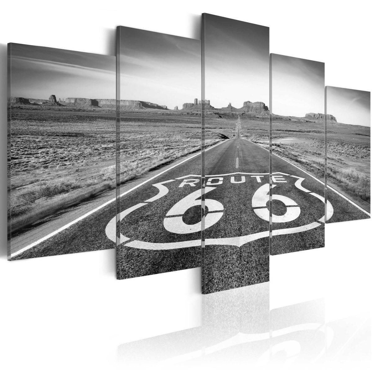 Canvas Tavla - Route 66 - black and white - 200x100