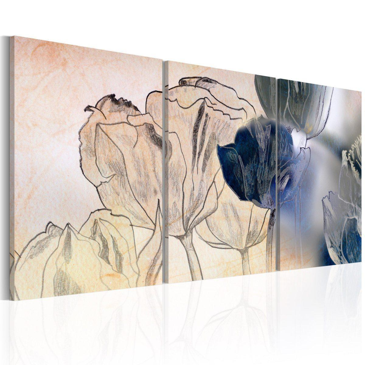 Canvas Tavla - Sketch of Tulips - 60x30