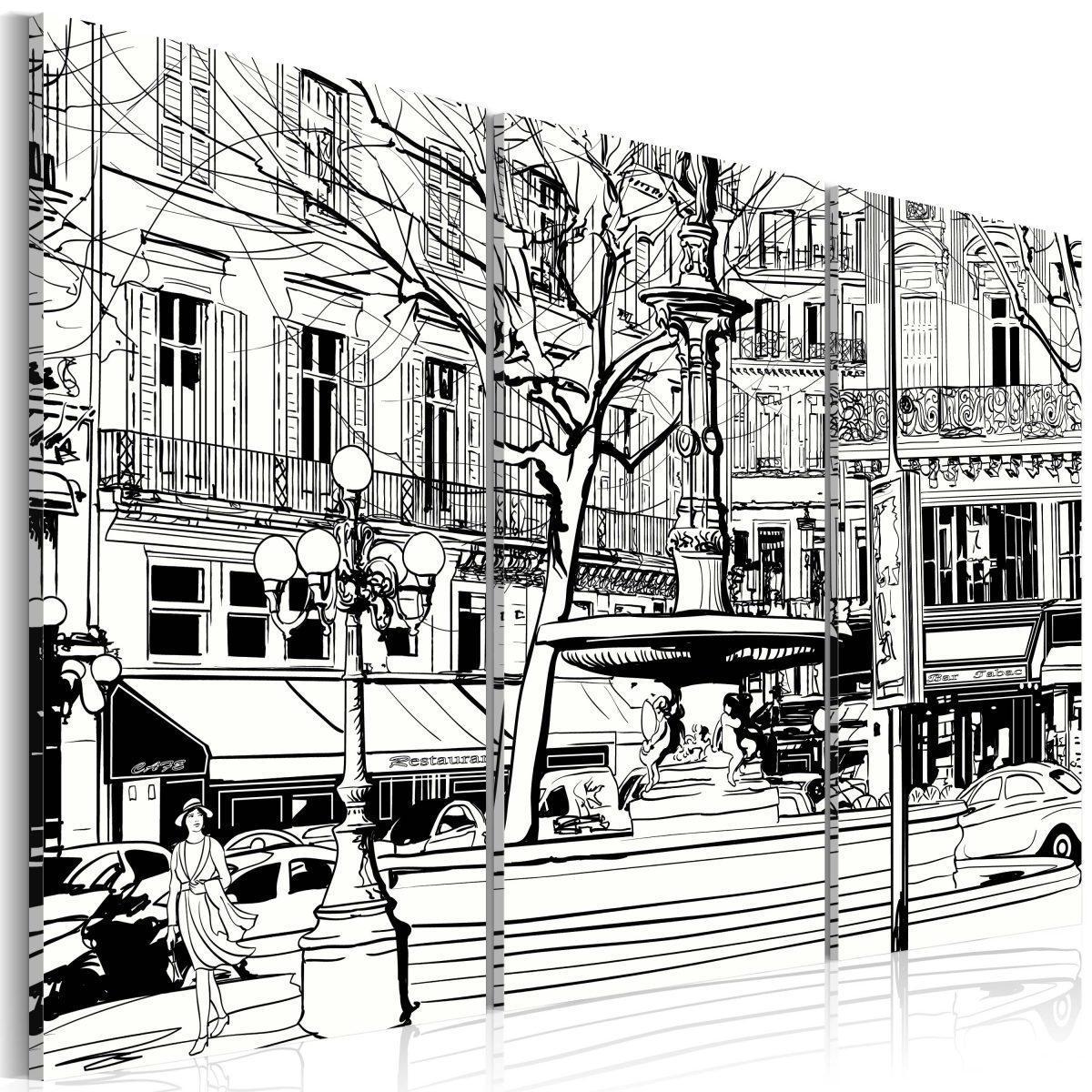 Canvas Tavla - Skiss över parisiskt torg - 60x40