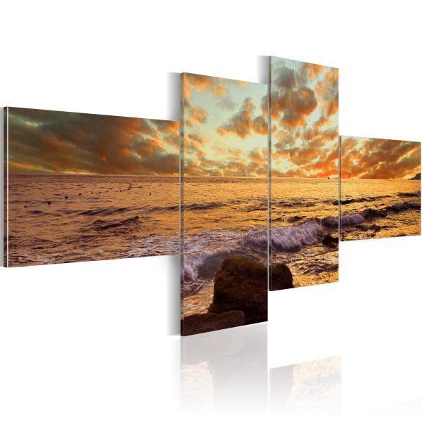 Canvas Tavla - Solnedgång över havet - 200x90