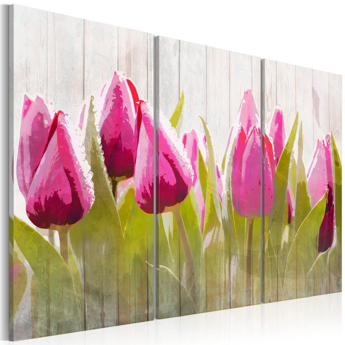 Canvas Tavla - Spring bouquet of tulips - 90x60