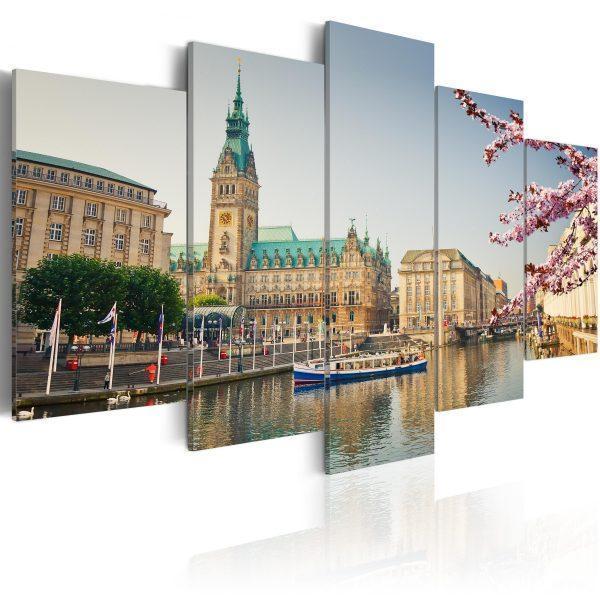 Canvas Tavla - Spring in Hamburg - 100x50