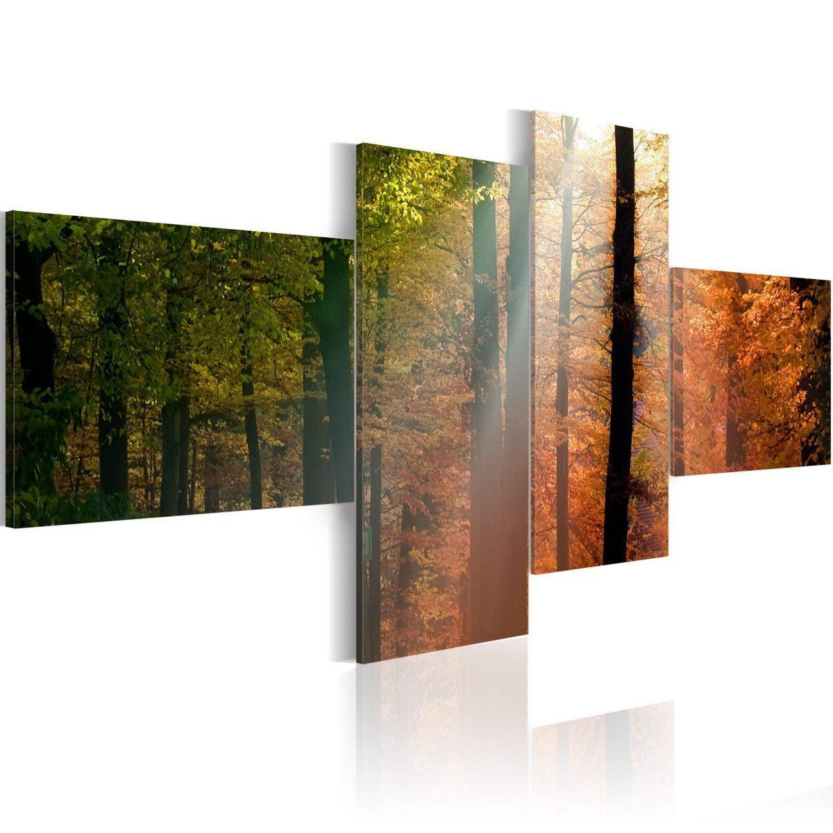 Canvas Tavla - Sunrays between trees - 200x90