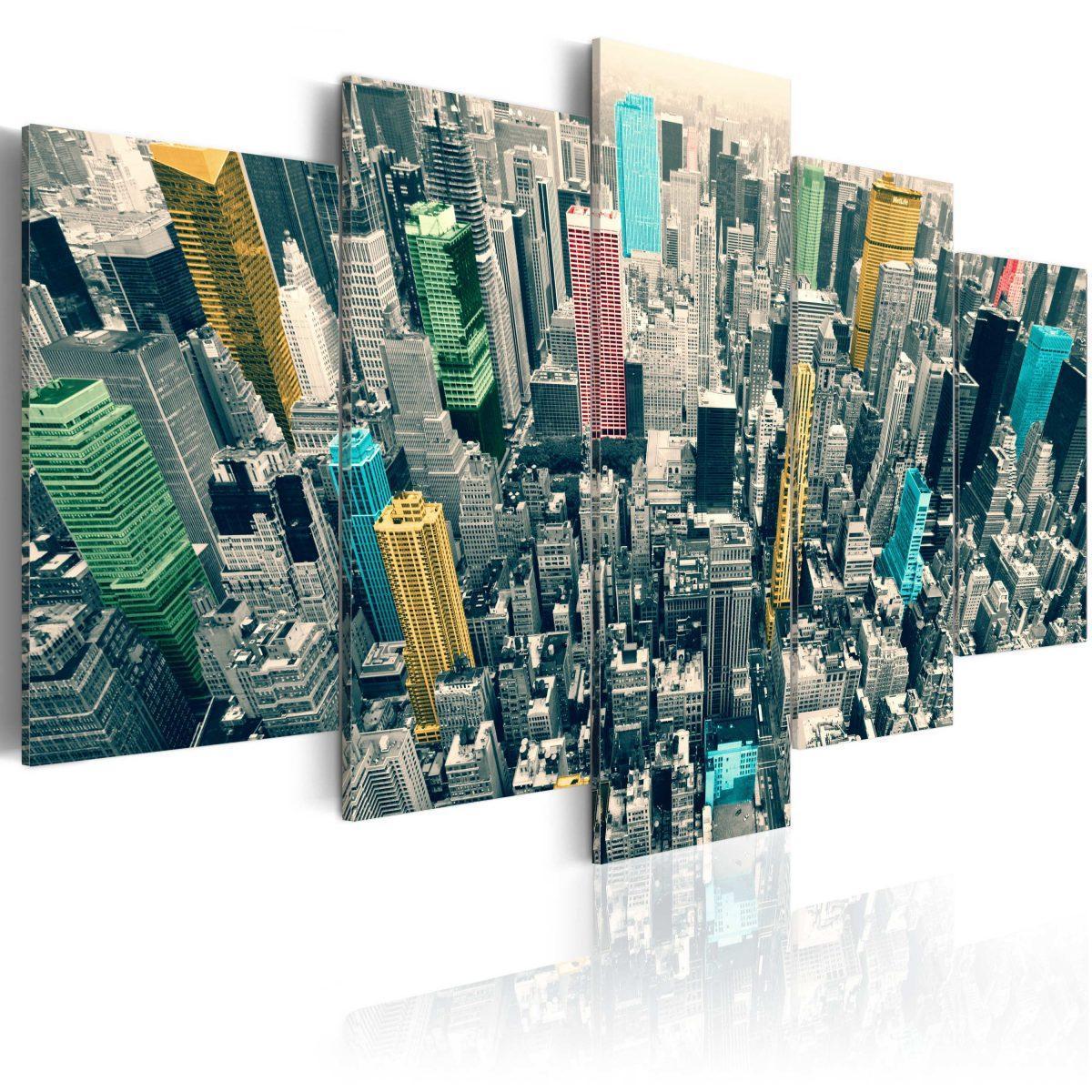 Canvas Tavla - The greyness of the day revived, NY - 100x50