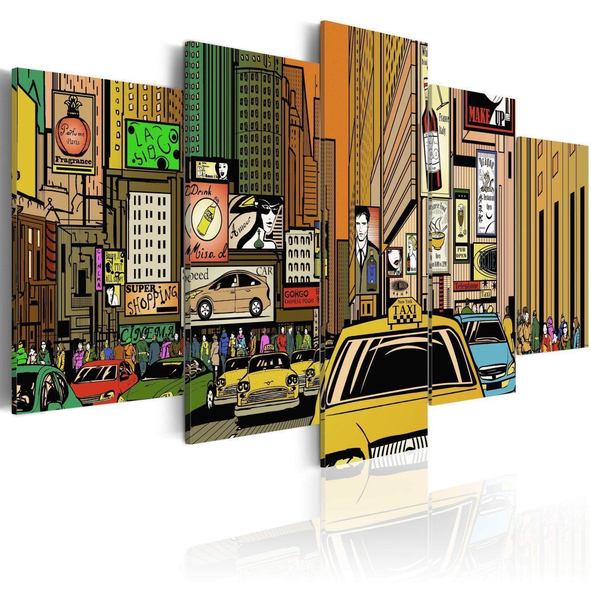 Canvas Tavla - The streets of New York City in cartoons - 200x100