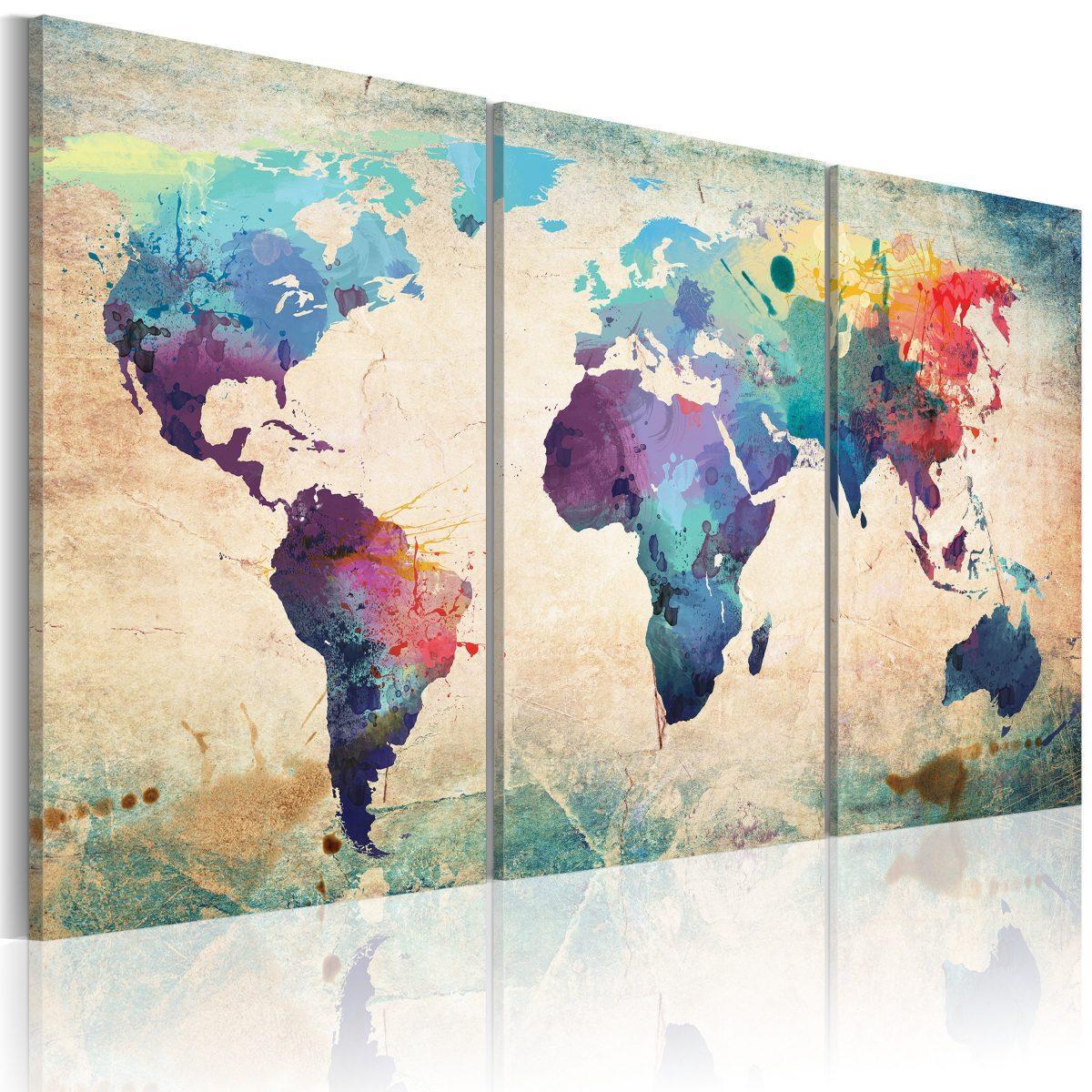 Canvas Tavla - Världen målade med akvarell - 60x30