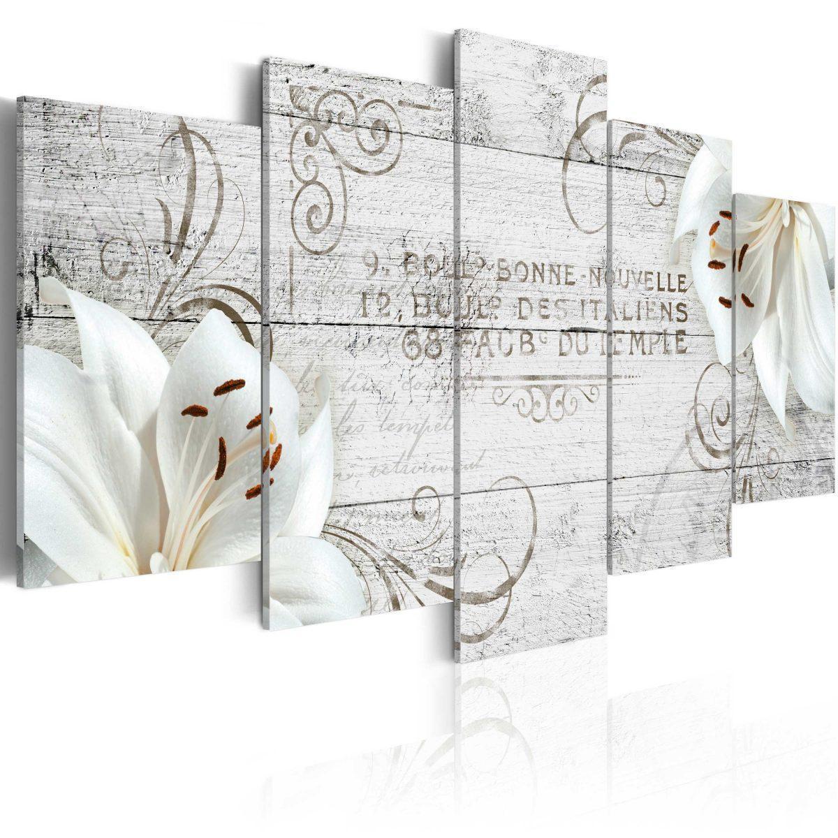 Canvas Tavla - White lilies on wood - 100x50