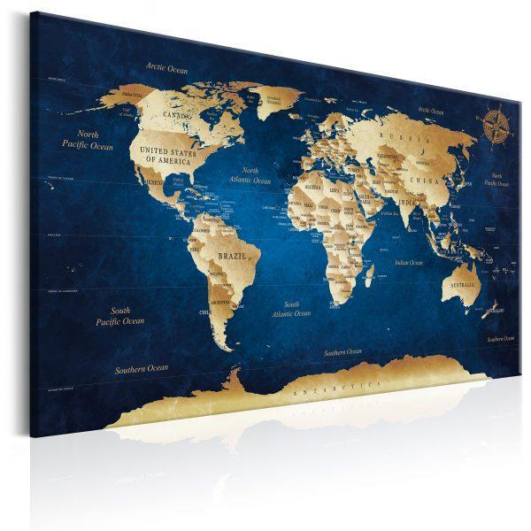 Canvas Tavla - World Map: The Dark Blue Depths - 90x60