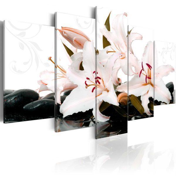 Canvas Tavla - Zen stones and lilies - 100x50
