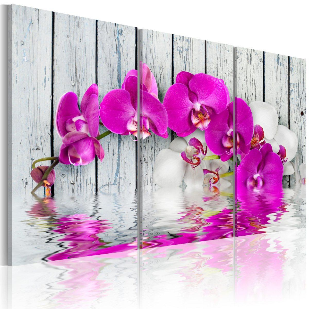 Canvas Tavla - harmony: orchid - Triptych - 120x80