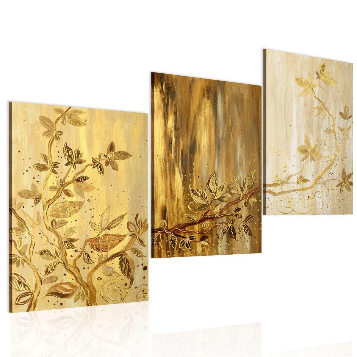 Handmålad tavla - Gyllene blad