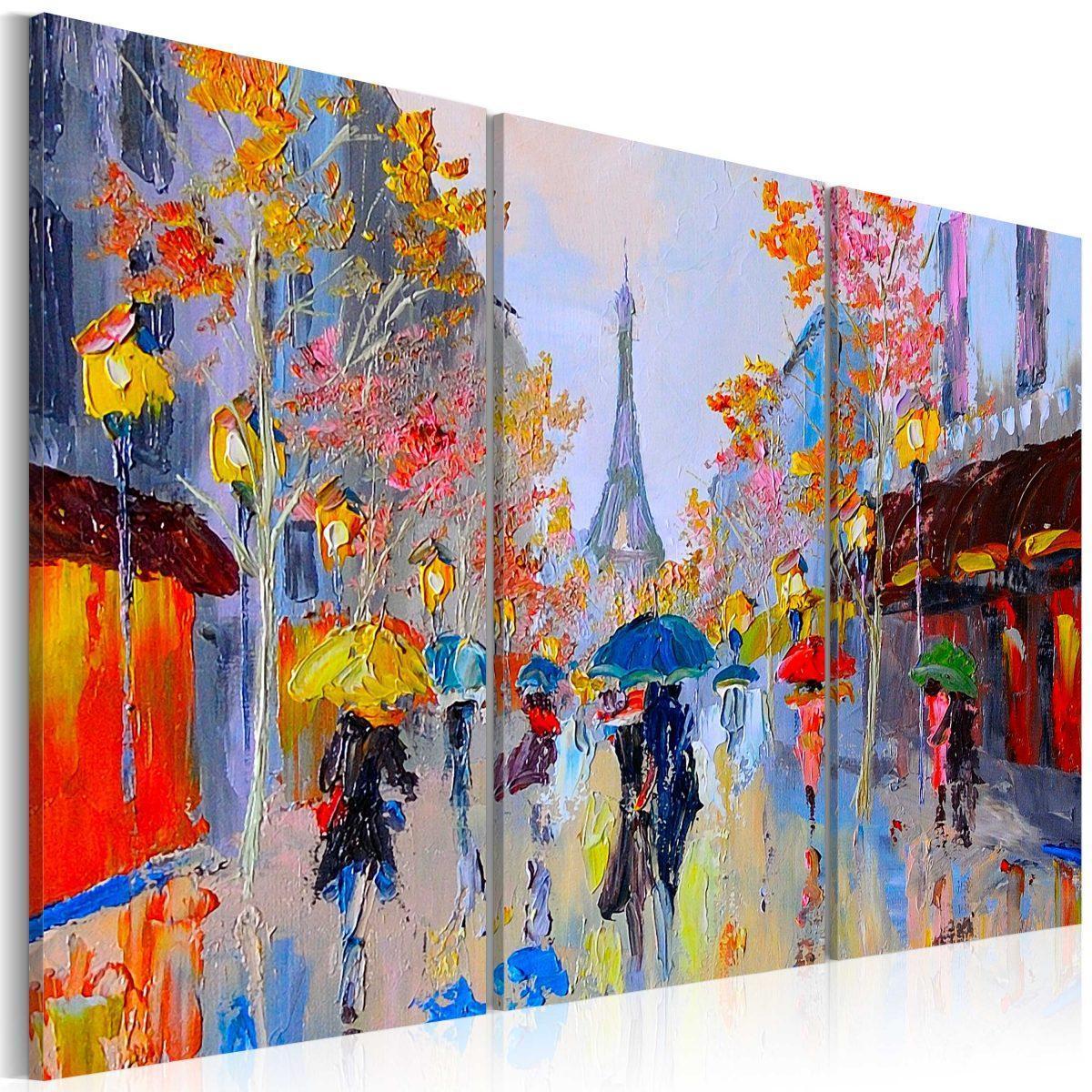 Handmålad tavla - Rainy Paris - 120x80