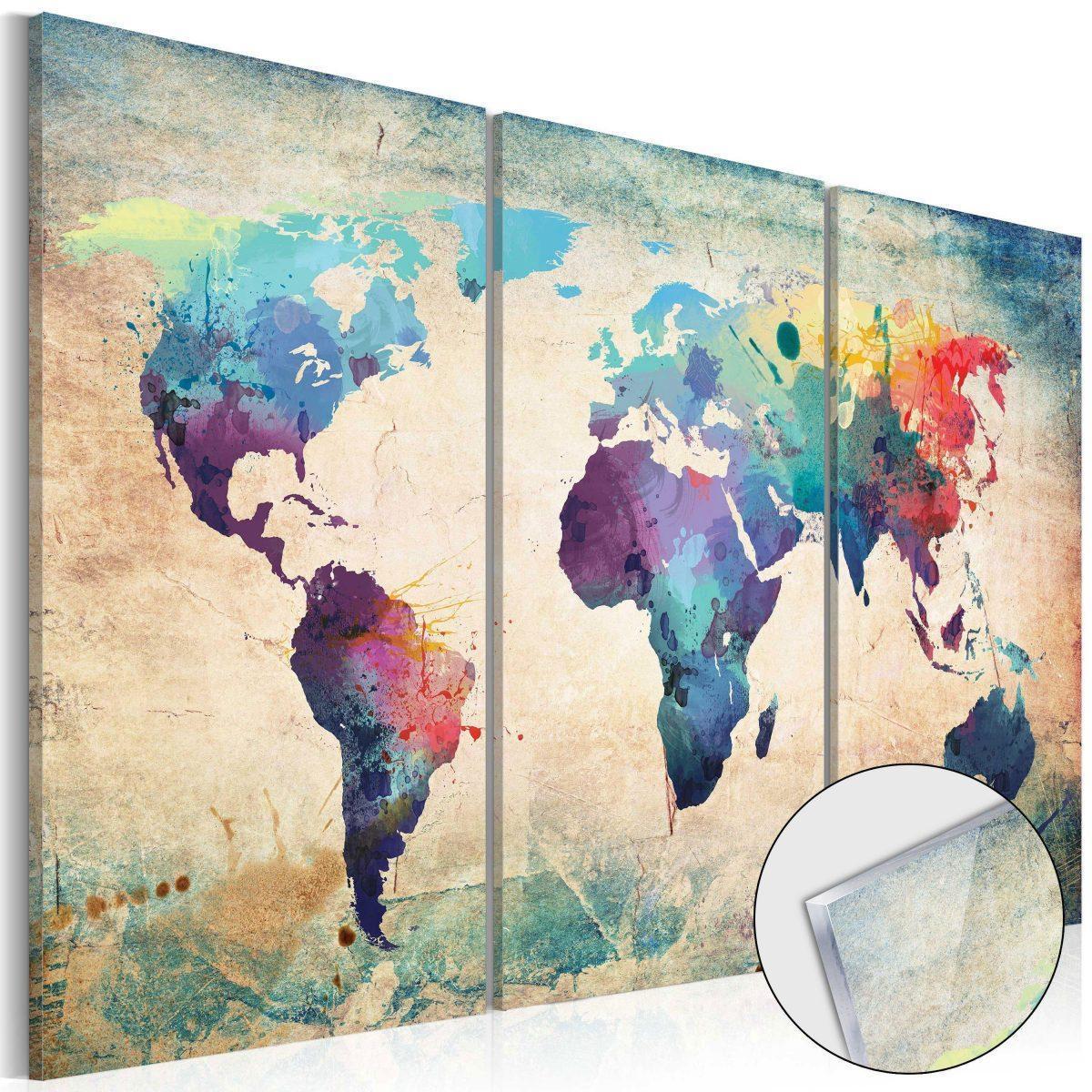 Tavla i akrylglas - Rainbow Map - 90x60