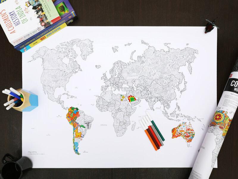 Världskarta Fyll-i-poster med Pennor